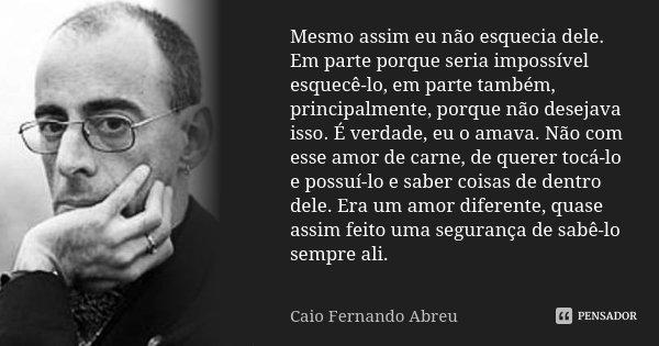 Mesmo assim eu não esquecia dele. Em parte porque seria impossível esquecê-lo, em parte também, principalmente, porque não desejava isso. É verdade, eu o amava.... Frase de Caio Fernando Abreu.