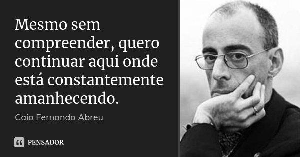 Mesmo sem compreender, quero continuar aqui onde está constantemente amanhecendo.... Frase de Caio Fernando Abreu.
