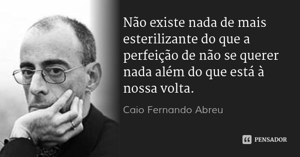 Não existe nada de mais esterilizante do que a perfeição de não se querer nada além do que está à nossa volta.... Frase de Caio Fernando Abreu.