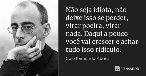 Não seja idiota, não deixe isso se perder, virar poeira, virar nada. Daqui a pouco você vai crescer e achar tudo isso ridículo.... Frase de Caio Fernando Abreu.