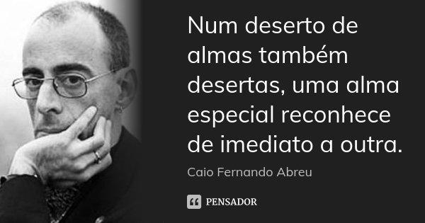 Num deserto de almas também desertas, uma alma especial reconhece de imediato a outra.... Frase de Caio Fernando Abreu.