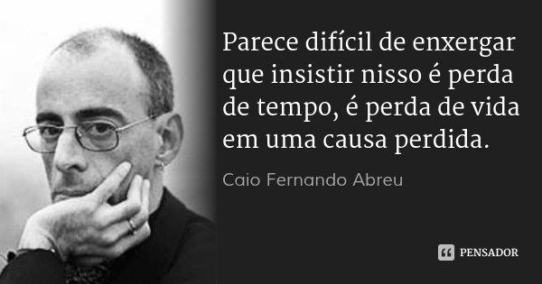 Parece difícil de enxergar que insistir nisso é perda de tempo, é perda de vida em uma causa perdida.... Frase de Caio Fernando Abreu.