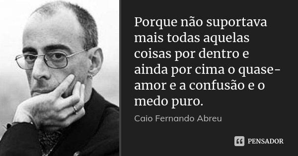 Porque não suportava mais todas aquelas coisas por dentro e ainda por cima o quase-amor e a confusão e o medo puro.... Frase de Caio Fernando Abreu.