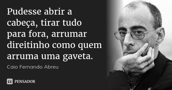 Pudesse abrir a cabeça, tirar tudo para fora, arrumar direitinho como quem arruma uma gaveta.... Frase de Caio Fernando Abreu.