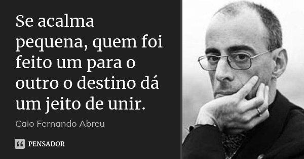 Se acalma pequena, quem foi feito um para o outro o destino dá um jeito de unir.... Frase de Caio Fernando Abreu.