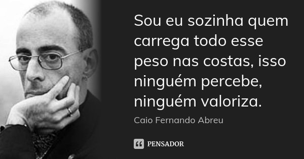 Sou eu sozinha quem carrega todo esse peso nas costas, isso ninguém percebe, ninguém valoriza.... Frase de Caio Fernando Abreu.
