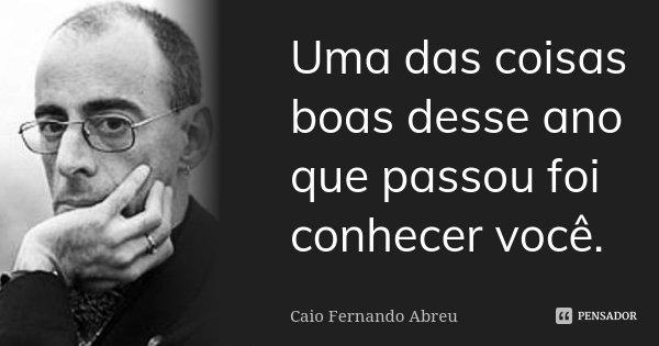 Uma das coisas boas desse ano que passou foi conhecer você.... Frase de Caio Fernando Abreu.