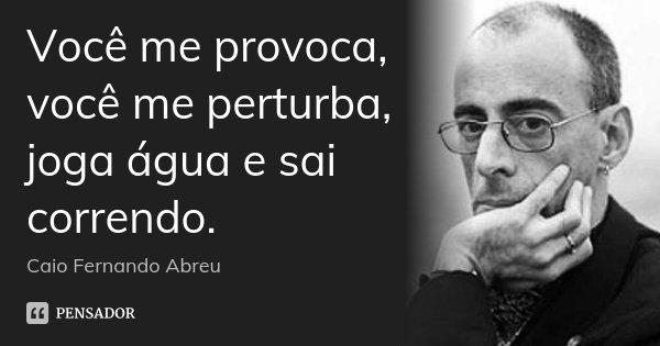 Você me provoca, você me perturba, joga água e sai correndo.... Frase de Caio Fernando Abreu.
