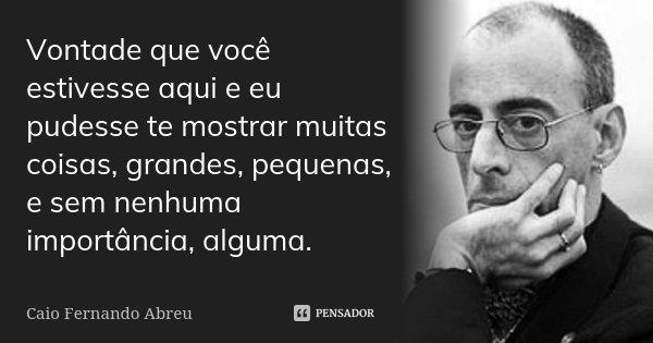 Vontade que você estivesse aqui e eu pudesse te mostrar muitas coisas, grandes, pequenas, e sem nenhuma importância, alguma.... Frase de Caio Fernando Abreu.