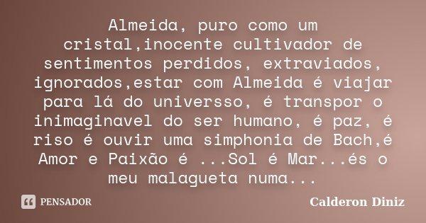 Almeida, puro como um cristal,inocente cultivador de sentimentos perdidos, extraviados, ignorados,estar com Almeida é viajar para lá do universso, é transpor o ... Frase de Calderon Diniz.