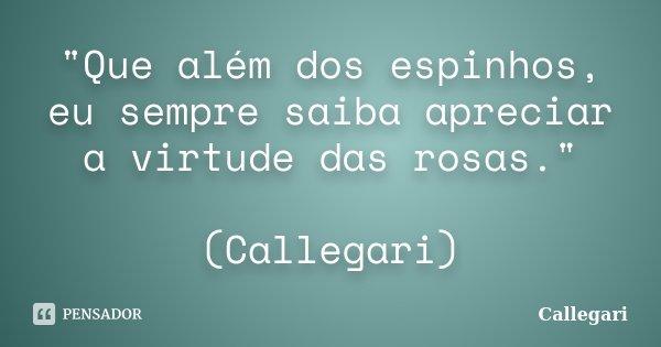 """""""Que além dos espinhos, eu sempre saiba apreciar a virtude das rosas."""" (Callegari)... Frase de Callegari."""