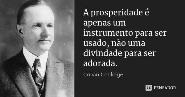 A prosperidade é apenas um instrumento para ser usado, não uma divindade para ser adorada.... Frase de Calvin Coolidge.
