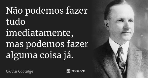 Não podemos fazer tudo imediatamente, mas podemos fazer alguma coisa já.... Frase de Calvin Coolidge.