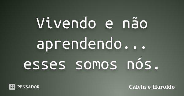 Vivendo e não aprendendo... esses somos nós.... Frase de Calvin e Haroldo.