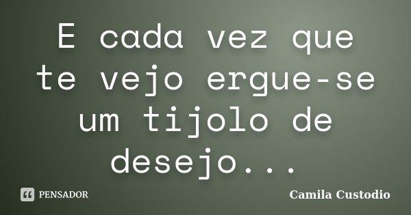 E cada vez que te vejo ergue-se um tijolo de desejo...... Frase de Camila Custodio.