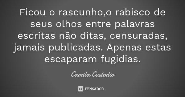 Ficou o rascunho,o rabisco de seus olhos entre palavras escritas não ditas, censuradas, jamais publicadas. Apenas estas escaparam fugidias.... Frase de Camila Custodio.