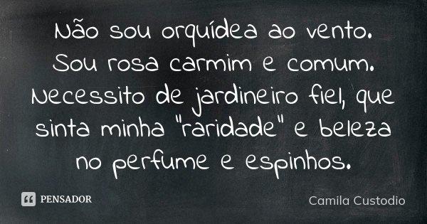 """Não sou orquídea ao vento. Sou rosa carmim e comum. Necessito de jardineiro fiel, que sinta minha """"raridade"""" e beleza no perfume e espinhos.... Frase de Camila Custodio."""