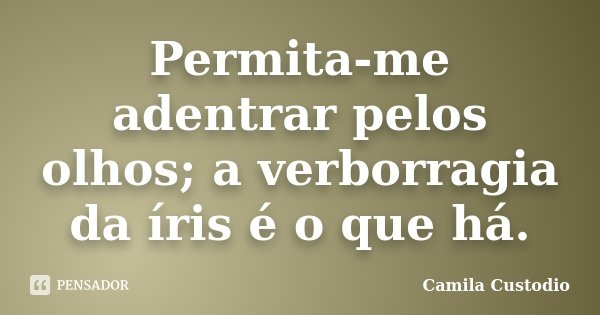 Permita-me adentrar pelos olhos; a verborragia da íris é o que há.... Frase de Camila Custodio.