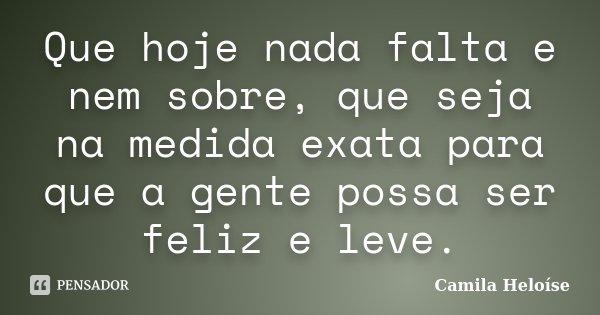 Que hoje nada falta e nem sobre, que seja na medida exata para que a gente possa ser feliz e leve.... Frase de Camila Heloíse.
