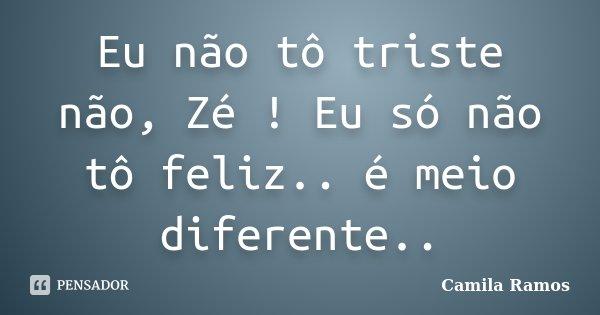 Eu não tô triste não, Zé ! Eu só não tô feliz.. é meio diferente..... Frase de Camila Ramos.