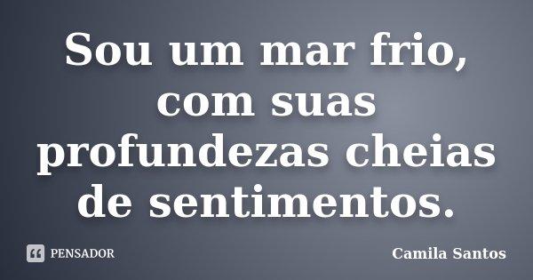 Sou um mar frio, com suas profundezas cheias de sentimentos.... Frase de Camila Santos.