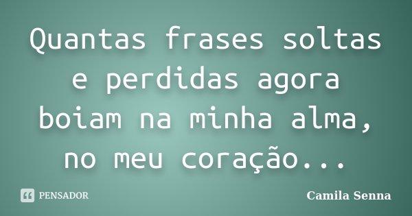 Quantas frases soltas e perdidas agora boiam na minha alma, no meu coração...... Frase de Camila Senna.