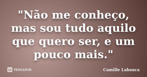 """""""Não me conheço, mas sou tudo aquilo que quero ser, e um pouco mais.""""... Frase de Camille Labanca."""