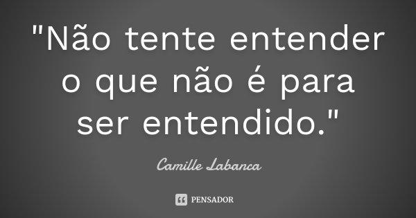 """""""Não tente entender o que não é para ser entendido.""""... Frase de Camille Labanca."""