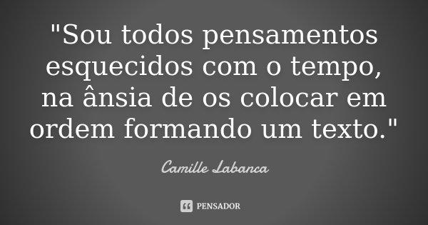 """""""Sou todos pensamentos esquecidos com o tempo, na ânsia de os colocar em ordem formando um texto.""""... Frase de Camille Labanca."""