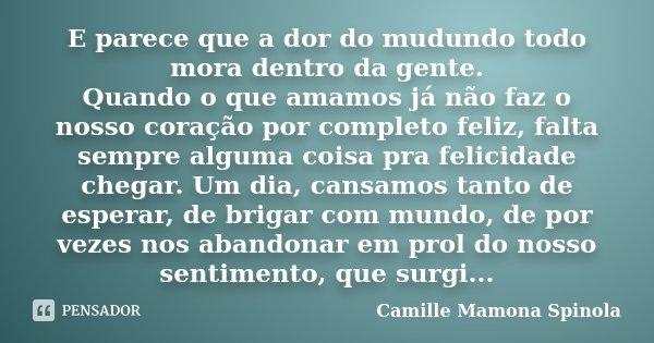 E parece que a dor do mudundo todo mora dentro da gente. Quando o que amamos já não faz o nosso coração por completo feliz, falta sempre alguma coisa pra felici... Frase de Camille Mamona Spinola.