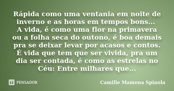 Rápida como uma ventania em noite de inverno e as horas em tempos bons... A vida, é como uma flor na primavera ou a folha seca do outono, é boa demais pra se de... Frase de Camille Mamona Spinola.