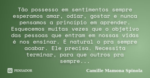 Tão possesso em sentimentos sempre esperamos amar, odiar, gostar e nunca pensamos a princípio em aprender. Esquecemos muitas vezes que o objetivo das pessoas qu... Frase de Camille Mamona Spinola.