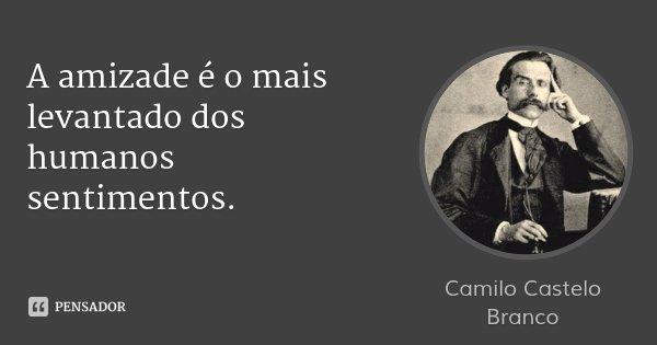 A amizade é o mais levantado dos humanos sentimentos.... Frase de Camilo Castelo Branco.