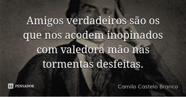 Amigos verdadeiros são os que nos acodem inopinados com valedora mão nas tormentas desfeitas.... Frase de Camilo Castelo Branco.