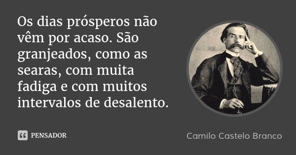Os dias prósperos não vêm por acaso. São granjeados, como as searas, com muita fadiga e com muitos intervalos de desalento.... Frase de Camilo Castelo Branco.