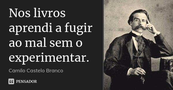 Nos livros aprendi a fugir ao mal sem o experimentar.... Frase de Camilo Castelo Branco.