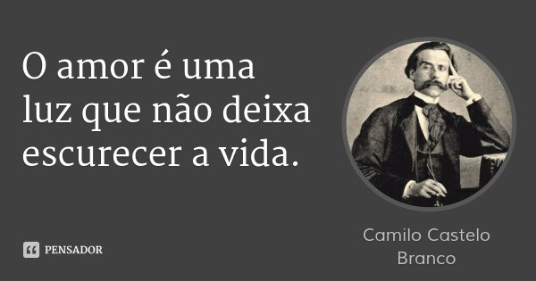 O amor é uma luz que não deixa escurecer a vida.... Frase de Camilo Castelo Branco.