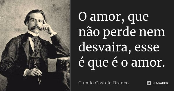 O amor, que não perde nem desvaira, esse é que é o amor.... Frase de Camilo Castelo Branco.