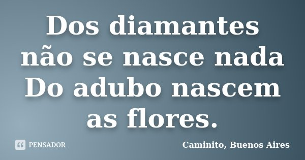 Dos diamantes não se nasce nada Do adubo nascem as flores.... Frase de Caminito, Buenos Aires.
