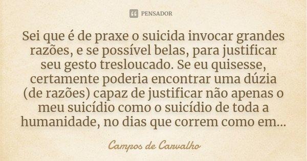 Sei que é de praxe o suicida invocar grandes razões, e se possível belas, para justificar seu gesto tresloucado. Se eu quisesse, certamente poderia encontrar um... Frase de Campos de Carvalho.