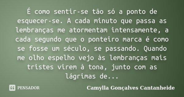 É como sentir-se tão só a ponto de esquecer-se. A cada minuto que passa as lembranças me atormentam intensamente, a cada segundo que o ponteiro marca é como se ... Frase de Camylla Gonçalves Cantanheide.