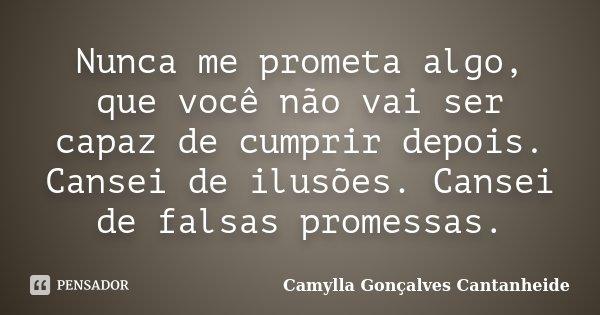 Nunca me prometa algo, que você não vai ser capaz de cumprir depois. Cansei de ilusões. Cansei de falsas promessas.... Frase de Camylla Gonçalves Cantanheide.