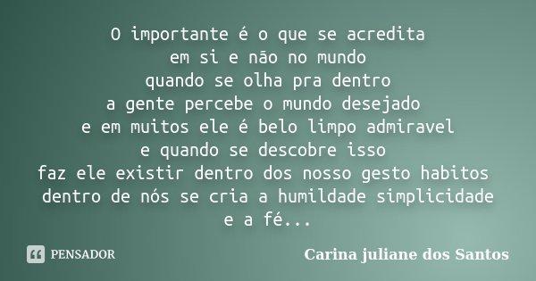 O importante é o que se acredita em si e não no mundo quando se olha pra dentro a gente percebe o mundo desejado e em muitos ele é belo limpo admiravel e quando... Frase de Carina Juliane Dos Santos.