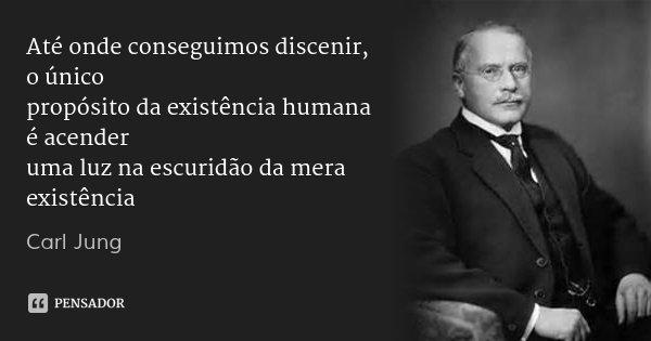 Até onde conseguimos discenir, o único propósito da existência humana é acender uma luz na escuridão da mera existência... Frase de Carl Jung.
