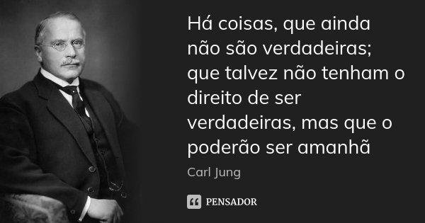 Há coisas, que ainda não são verdadeiras; que talvez não tenham o direito de ser verdadeiras, mas que o poderão ser amanhã... Frase de carl jung.