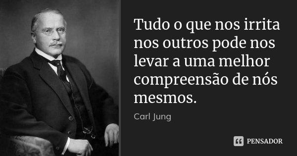 Tudo o que nos irrita nos outros pode nos levar a uma melhor compreensão de nós mesmos.... Frase de Carl Jung.