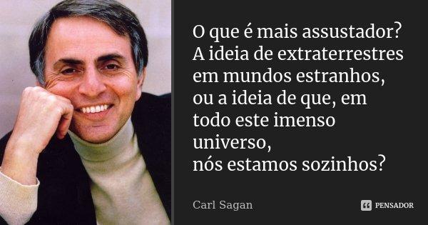 O que é mais assustador? A idéia de extraterrestres em mundos estranhos, ou a idéia de que, em todo este imenso universo, nós estamos sozinhos?... Frase de Carl Sagan.