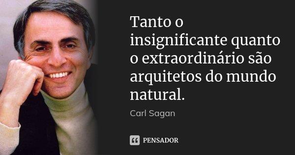 Tanto o insignificante quanto o extraordinário são arquitetos do mundo natural.... Frase de Carl Sagan.