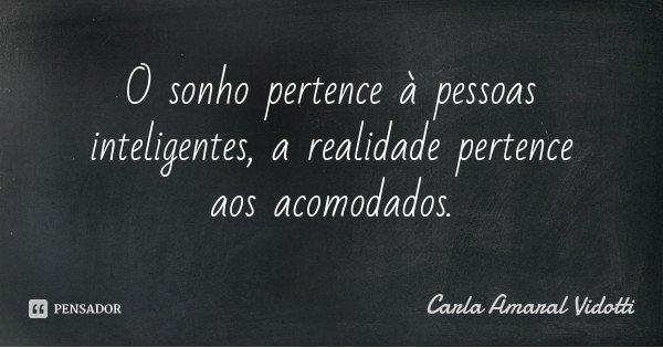 O sonho pertence à pessoas inteligentes, a realidade pertence aos acomodados.... Frase de Carla Amaral Vidotti.
