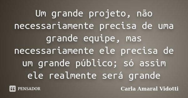 Um grande projeto, não necessariamente precisa de uma grande equipe, mas necessariamente ele precisa de um grande público; só assim ele realmente será grande... Frase de Carla Amaral Vidotti.